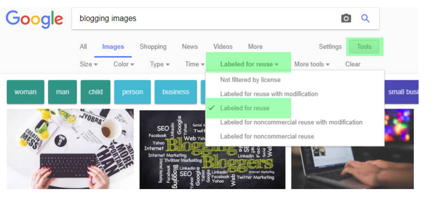 Use Google images safely by selecting the labeled for reuse button